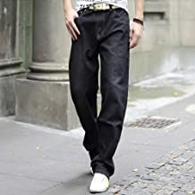 Jeans-Men's Casual Stretching Fat Loose Jeans, Simple/Washable,Black Perfect Fit (Size : 35)