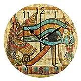 GeTJonesRiGhT Large Arabic Digital Quartz Movement Clock-Old Egyptian Culture Round Wall Clock Non Ticking Silent Clock Art for Living Room Kitchen Bedroom-size10in