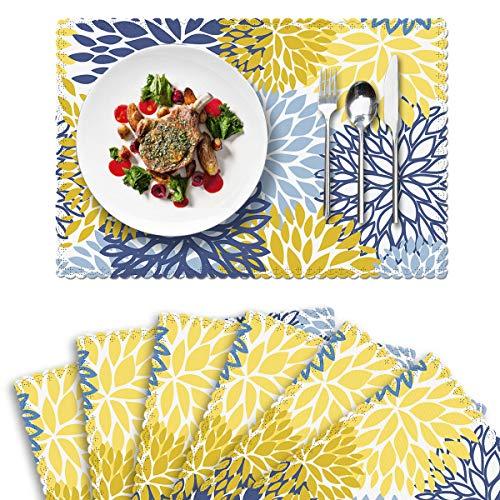 Britimes Set von 6 Tischsets Herbst Blau Gelb Blume Impression Kunst Küche Deko Polyester rutschfest und hitzebeständig 30,5 x 45,7 cm Fall Platzsets für Esstisch