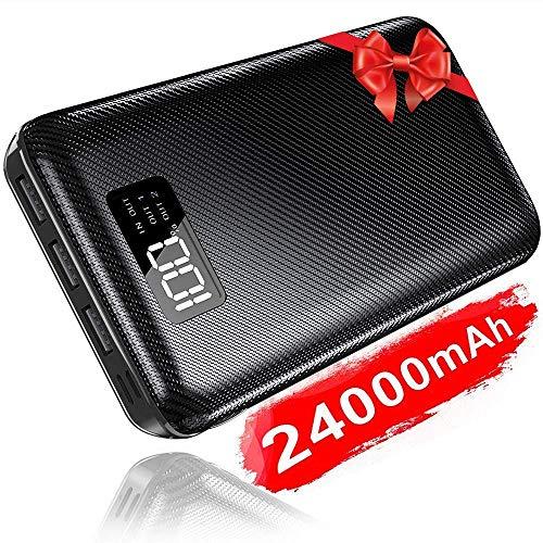 KEDRON Power Bank 24000mAh Caricabatterie Portatile Batteria Esterna Portatile Caricatore con Display LCD Digitale e 3 Porte USB & 2 Porte di Entrata
