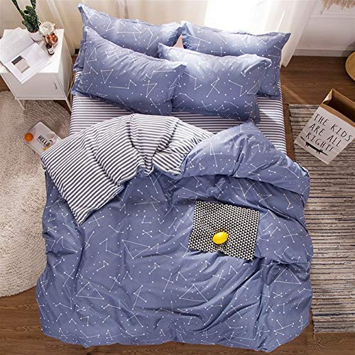 ZMK-720 Bedding Bed Sheets Home Textile Constellation Galaxy Bed Linen 4Pcs Duvet Cover Pillowcase Sheet Boy Girl Kid Teens Bedding Sets Stripe (Color : 1, Size : 200 X 230 cm)
