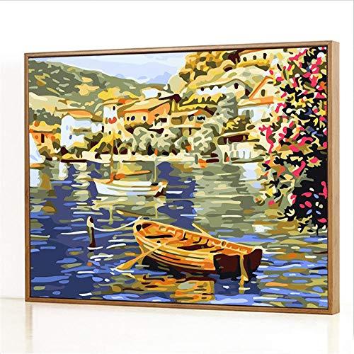 Diy Digitale Olieverfschilderij,Kabbelend bij het meer Schilderen Door Cijfers,Linnen Canvas ,Foto Voor Binnendecoratie - 40x50cm(Fotolijst)