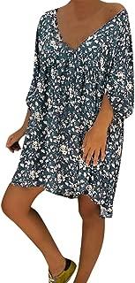 Women Plus Size Floral Print Dress S-5XL Chaofanjiancai Ladies Summer V Neck Half Sleeve Casual Loose Beach Dresses