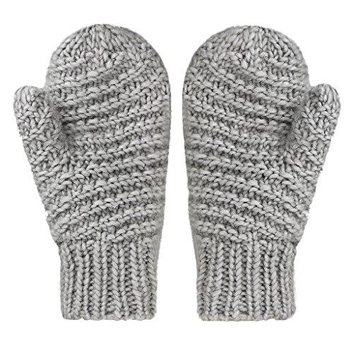 Moufles Automne Hiver en Laine Gants Tricoté Crochet Exquis Cachemire Mitaines Epais Super Chaud Couleur Unique Thermique Douce Mode Elégant pour Femmes Filles-Gris