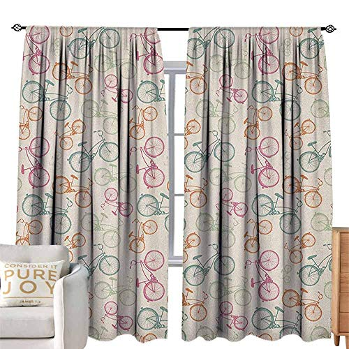 Andrea Sam Thermal Insulated Blackout Curtain Bicycle,Sketch Bikes in Retro Colors Hipster Pattern Pedals Wheels Urban Life Theme Vintage, Multicolor W104 x L84 Light Filtering, Privacy