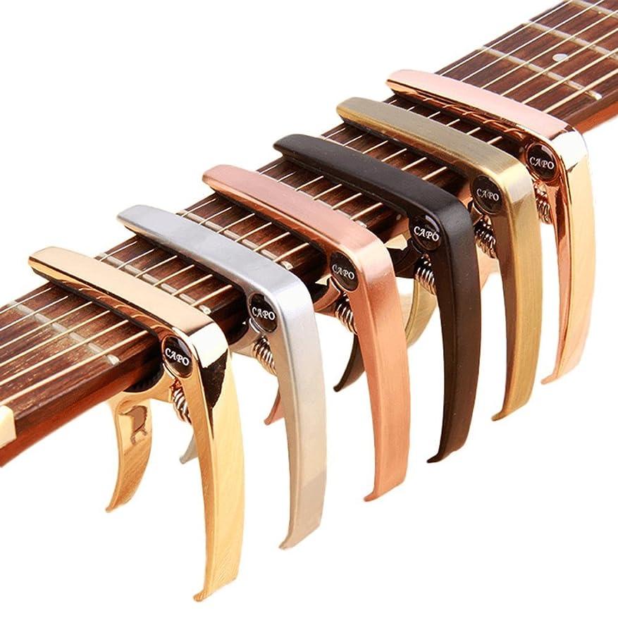批判圧力引き出しZEALUX カポタスト ギター、ウクレレ、バンジョー、マンドリン、ベース用のスーツ。 超軽量アルミメタル、4&6&12弦の楽器用 - プレミアムアクセサリー (ローズゴールド)
