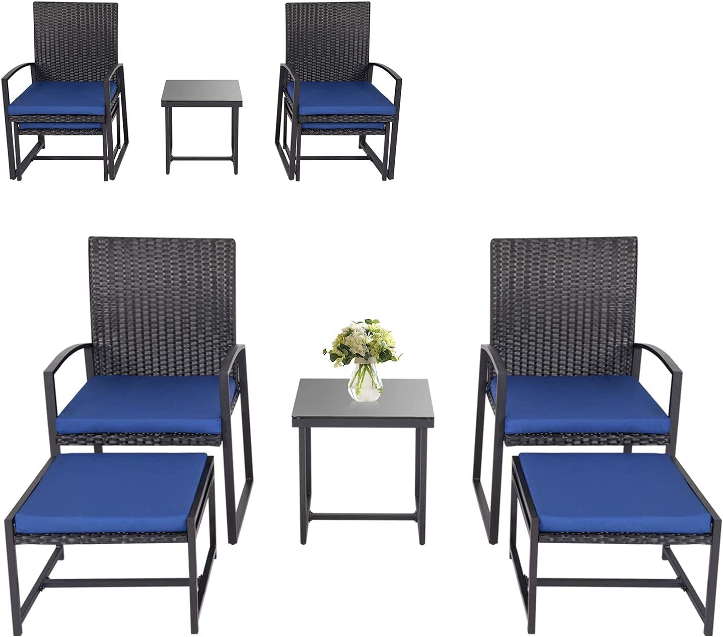 Kinbor 5PCs Patio Wicker Spring new work Chairs with Ottoman Table specialty shop Coffee and fo