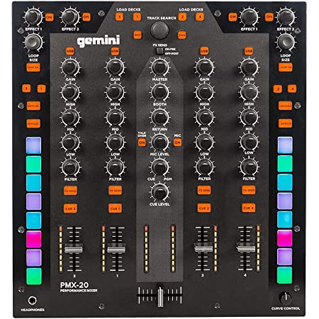 Gemini Sound PMX-20 4 Channel Audio All-In-One Metal Professional DJ Controller with 16 RGB Performance Pads MIDI Control Innofader Ready Crossfader TRS/XLR Mic Inputs Digital Mixer