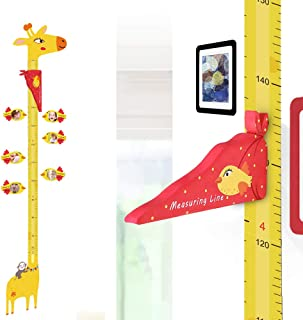UCMD Magnetic Kids Height Growth Chart, Giraffe Wall Decal Ruler for Children's Room Wall Stickers- 6 PCS Magnetic Photo Frames, 1 Erase Marker Pen