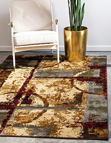 Unique Loom Barista Collection Abstract Vintage Modern Rustic Warm Multi Round Rug (3' 0 x 3' 0)