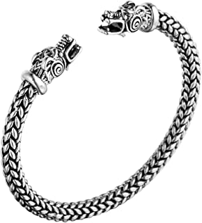 Norse Viking Double Dragon Head Twisted Bracelet Arm Ring Bangles Adjustable Men's Jewelry