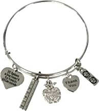 Infinity Collection Teacher Bangle Bracelet- Teacher Jewelry, Teacher Gift, Show Your Teacher Appreciation Thank You Gifts for Teachers