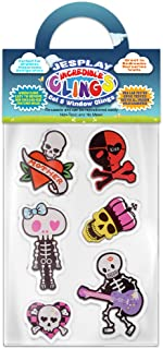 Dia De Los Muertos Thick Gel Clings Incredible Removable Window Clings for Kids, Toddlers - Hearts, Skeleton, Tattoo, Pirate, Silly - Incredible Gel Decals for Glass, Walls, Planes, Classrooms