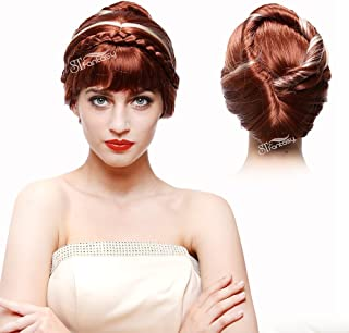 STfantasy Frozen Anna Coronation Wig Braid Updo Bun for Women Halloween Cosplay 13 Inches Hair withCap