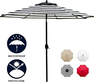 Sunnyglade 11Ft Patio Umbrella Garden Canopy Outdoor Table Market Umbrella with Tilt and Crank (Black and White)