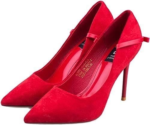 Cy Femmes Les Les Les dames Haut Talon Pointu Contraste Sexy Court Smart Partie Travail Chaussures Pompes Taille
