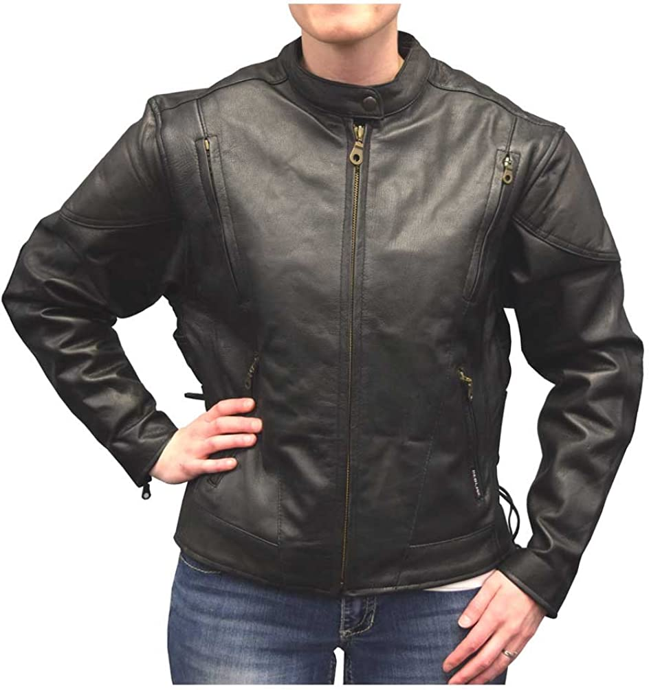 Redline Women's Midweight Goat Leather Quilted Waist Affect Jacket, Black L-3100