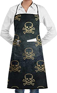 Scary Halloween Gold Glitter Skeleton Gothic Skull BBQ Waiter Housekeeper Pet Grooming Bartender Kitchen Beautician Hairstylist Nail Salon Carpenter Shoeing Wood Painting Artist Pocket Apron