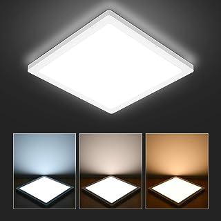 Hidixion Lámpara de Techo LED 18W, 1700LM Plafón LED de Techo Cuadrado Moderna Ø22cm 3000K/4000K/6000K 3 Colores Ultrafino 1.5cm para Baño Dormitorio, Cocina, Sala de Estar, Pasillo, Balcón, Salón