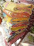 TEXTILLHUB Indian Wholesale Indian Tribal Kantha Quilt Vintage Handmade Blanket Patch Kantha Throw Hippie Bohemian Old Saree Made Kantha Rally Twin (Multi)