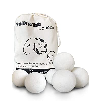OHOCO Wool Dryer Balls 6 Pack XL, Organic Natur...