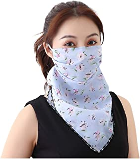 Women's Sun Protection Silk Neck Scarf Bandanas Seamless Headband Shield Neck Gaiter for Dust, Outdoors, Festivals, Sports