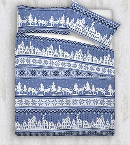 HomeLife Edredón de invierno para cama de matrimonio, diseño de pueblo navideño, 250 x 250 cm, para otoño/invierno, 260 g/m², hipoalergénico, edredón de matrimonio de microfibra, color azul