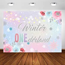COMOPHOTO Winter Onederland Backdrop Girl First 1st Birthday Party Decoration Background 7x5ft Silver Snowflakes Pink Floral Baby Wonderland Photography Backdrops for Photo Booth