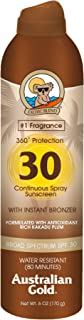 Australian Gold SPF 30 Continuous Sunscreen Spray with Bronzer, 6 Ounce
