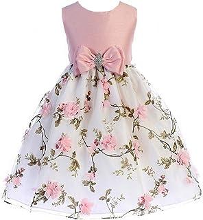 971135c6800f Crayon Kids Little Girls Pink Floral Print Easter Flower Girl Dress 2T-6