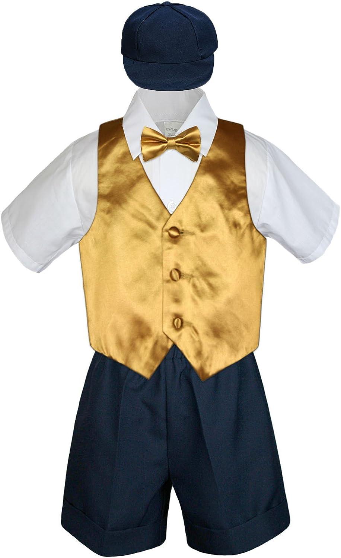 Leadertux 5pc Baby Toddler Boys Gold Vest Bow Tie Set Navy Short
