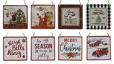 Juego de 8 letreros o adornos de Navidad de estaño de Navidad de 5.0 x 5.0in | adorno de corona o letreros colgantes | Joy to the World, Merry Christmas Surtido