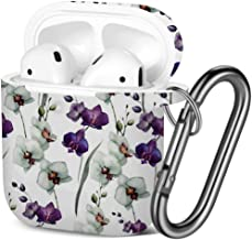 [ Compatible with AirPods 2 and 1 ] Shockproof Soft TPU Gel Case Cover with Keychain Carabiner for Apple AirPods (Wallpapers Flower Orchid)