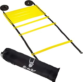 BiAnYC Speed and Agility Ladder with a Carrying Bag - 10M/20 Rung Ladder thickness-5mm-width 20mm-Length 40CM (Yellow)