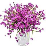 XONOR Flores artificiales – 8 paquetes de flores artificiales resistentes a los rayos UV no se decoloran plantas vegetales para jardín, boda, granja, decoración interior y exterior (rosa rojo)