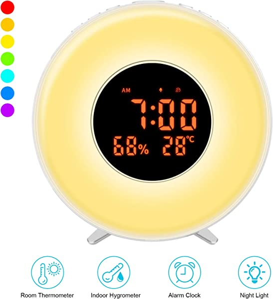VAVOFO Wake Up Light Alarm Clock With Colored Sunrise Simulation Night Light Temperature And Humidity Display Snooze Adjustable Alarm Volume Sleep Time White