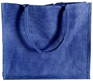 (Pack of 12) Jute/Burlap Tote Bags Soft Cotton Handles Laminated Interior Large Blue