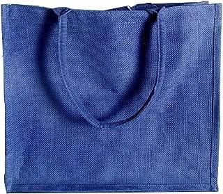 (Pack of 12) Jute/Burlap Tote Bags Soft Cotton Handles Laminated Interior (Large, Navy)