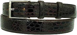 ESPERANTO Cintura uomo in vero fianco di coccodrillo, fodera vera pelle cuoio nabuk fibbia nichel free - altezza 4 cm (Mor...