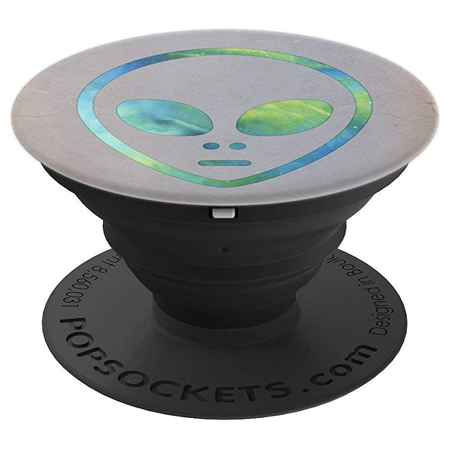 Space Astronomy Blue Alien Head on Gray Smartphone Holder - PopSockets Grip and Stand for Phones and Tablets