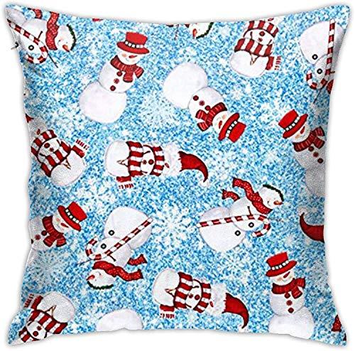 BONRI Sweet Season Snowman Holiday Christmas Throw Pillow Covers Funda de Almohada Decorativa con Cremallera Oculta Cuadrada de poliéster , (16'x16 / 40x40cm