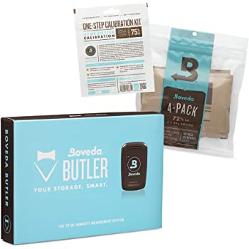 Boveda Butler Bundle for Cigars | Includes Smart Hygrometer + Four (4) 72% RH 2-Way Humidity Control + One (1) One-Step Calibration Kit | Measures RH and Temperature | App Available on iOS and Android