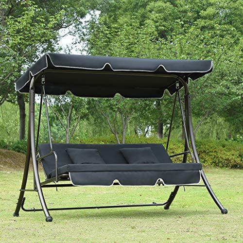 Loywe Hollywoodschaukel Gartenschaukel Moderne Gartenliege Outdoor Schaukelbank mit Liegefunktion 190x135x170cm LW10 Schwarz