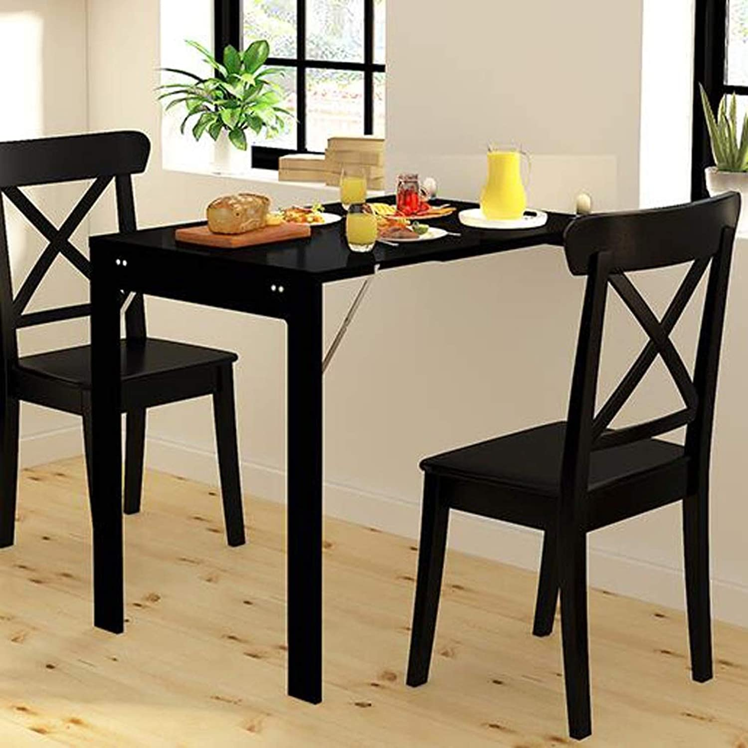 SHWSM Wall-Mounted Folding Table, Small-Sized Home Telescopic Invisible Small Dining Table, with Photo Frame - Super Tough, Bearing Up to 150kg Folding Table (color   Black)