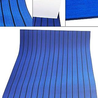 Kaibrite Revêtement de sol autoadhésif en bois de teck pour bateau, yacht, marine, antidérapant, bleu