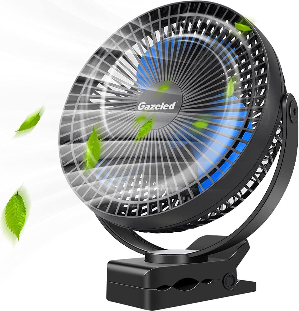 Rechargeable Fan, 10000mAh Clip On Fan, Battery Operated Stroller Fan(Up to 24H of Use), USB Desk Fan, 4-Speed Fast Cooling Portable Outdoor Fan, USB Fan for Bedroom, Office, Camping, Blue Blade