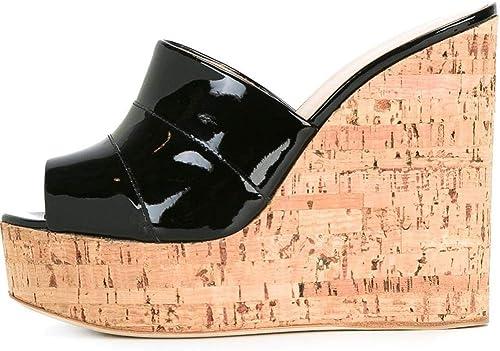 XLY XLY Sandales de Pantoufles de Plate-Forme de Wedge des Femmes, GlisseHommest de Talon Haut sur des glissières de Mules de Peep Toe,noir,41  prendre jusqu'à 70% de réduction