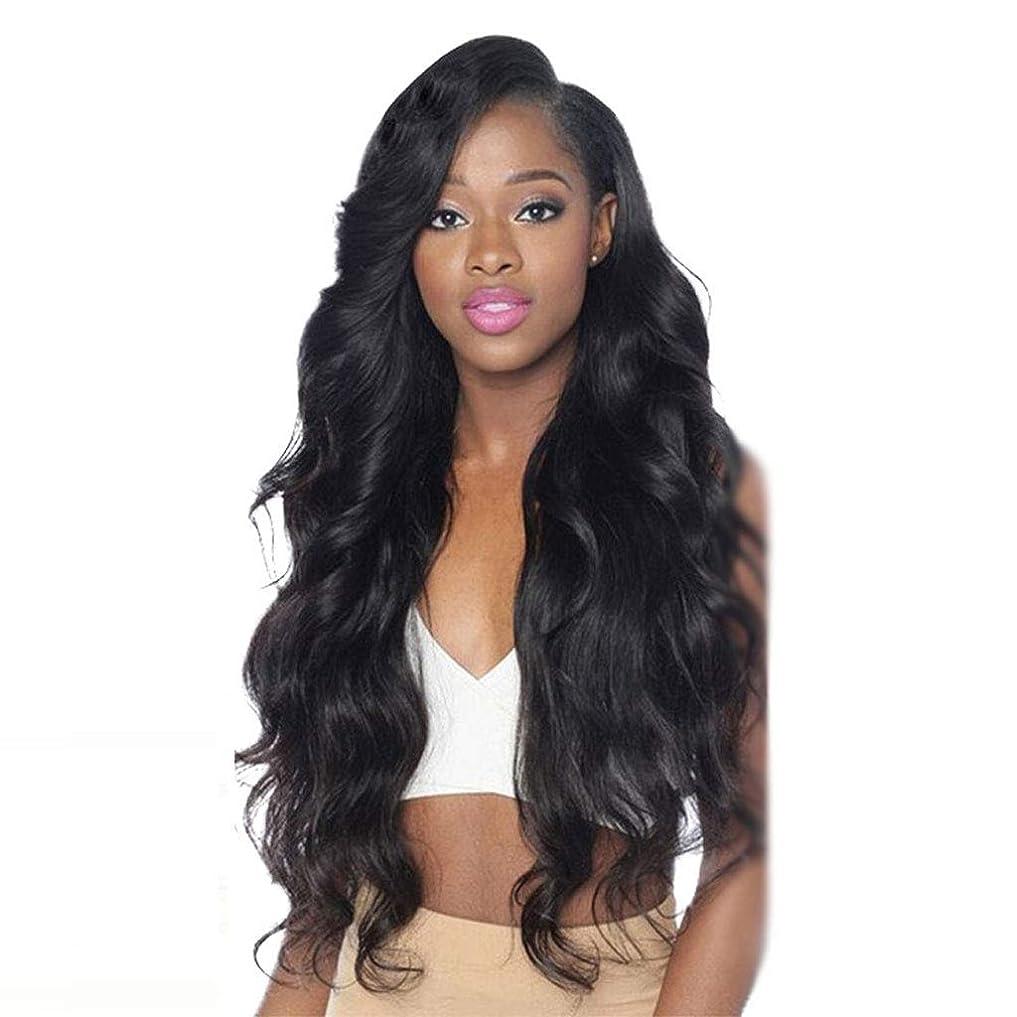 シンク縫うダウンタウンウィッグ ヨーロッパとアメリカの女性のかつらレースの前に本物の髪黒長い髪のヒート250%緻密な天然毛 (サイズ さいず : 18)