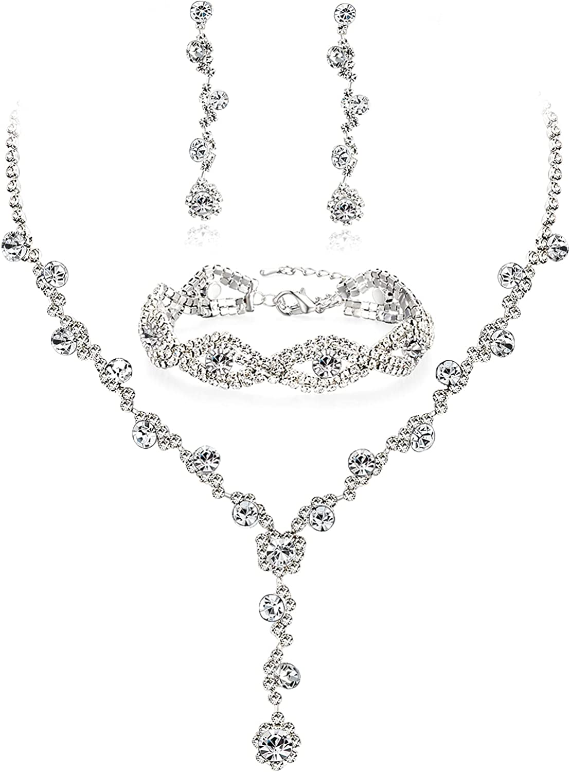 YANODA Rhinestone Bridal Jewelry Sets for Women Crystal Necklace Earrings Bracelet Jewelry Sets for Wedding Bridal Bridesmaid Gifts Evening Party Prom Jewelry Set