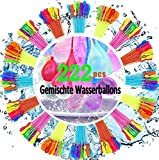 Hnighty 222 PCS Wasserbomben luftballons Eine Minute Water Balloons Wasserbomben, 6 Bündel mit je 37 Wasserbomben, Kein mühsames Füllen und Verknoten von Wasserballons mehr